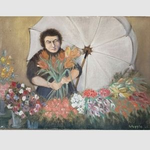 Flower Vendor Original Oil Painting Signed Whipple